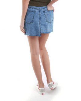Casual Lattice Raw Frayed Denim Fancy Skirt