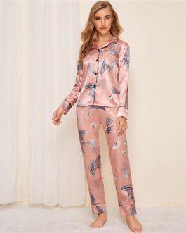 Casual Long Sleeve Pocket Sleepwear Long Pants Pajama Sets