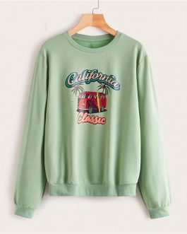 Letter And Car Print Casual Sweatshirt