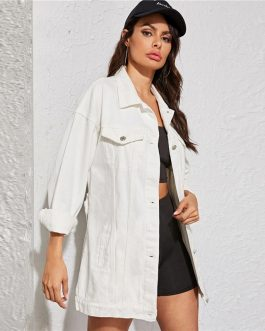 Casual Turn-down Collar Solid Buttoned Denim Jacket