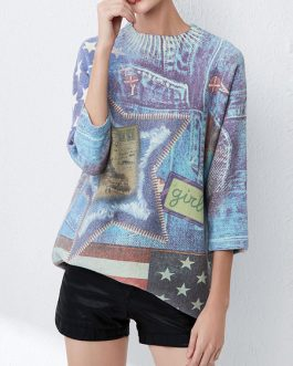 Cosy Jewel Neck Crochet The Stars And The Stripes Layered Pullover Sweater