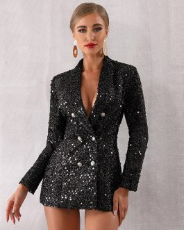 Deep V-Neck Double Breasted Long Sleeve Sequines Coats