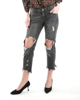 Casual Destroyed Medium Waist Washed Ripped Jeans