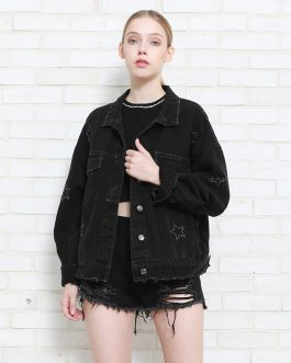 Hot Dots Long Sleeve Denim Jacket