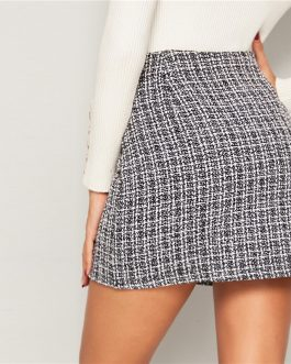 Double Breasted Tweed Mid Waist Elegant Mini Plaid Skirts