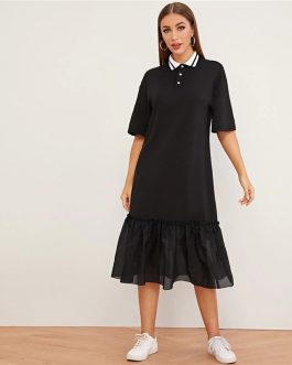 Drop Waist Turn-down Collar Casual Straight Solid Dress