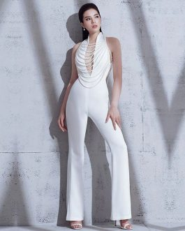 Elegant Beads Sexy Backless Halter Chain Party Jumpsuits