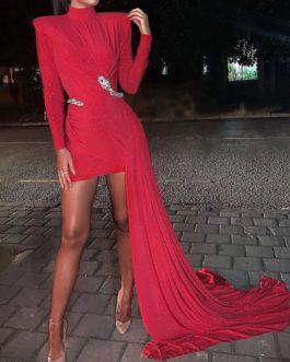 Elegant Bodycon Solid Color Mini Dress