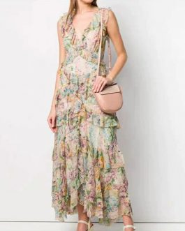 Elegant Flower Print Silk Long Dress