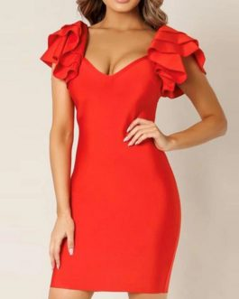Elegant Ruffles Clubwears Bodycon Party Dress
