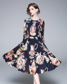 Elegant Office Work Printed Long Sleeve Party Dress