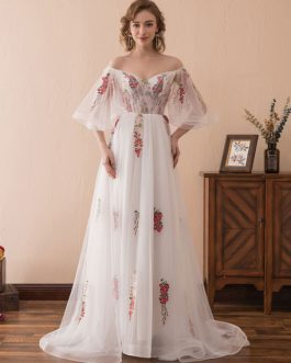 Embroidered Half Sleeve Formal Dress With Train