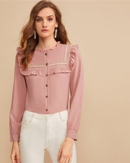 Embroidered Tape Panel Ruffle Trim Button Front Cute Blouse