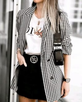 Plaid Fashion Turndown Collar Buttons Long Sleeve Blazer