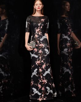 Flowers Embroidered Long Prom Dress