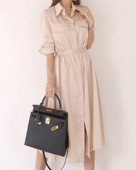 Turndown Collar Pleated Half Sleeves Cotton Layered Shirt Dresses