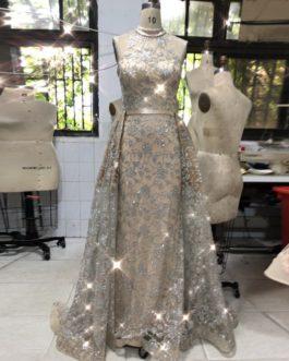 High Neck Glitter Illusion Back Mermaid Evening Dress