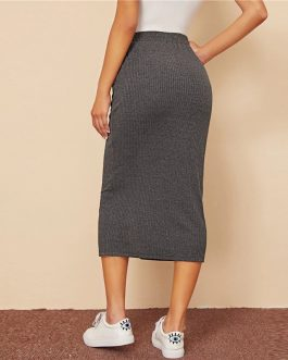 High Waist Ladies Casual Hem Pocket Patched Straight Long Skirt
