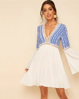 Holiday Flounce Sleeve V Neck Contrast Lace Dresses