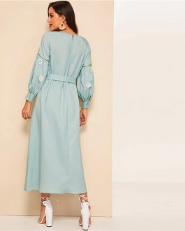 Keyhole Back Lace Appliques Belted Hijab Maxi Dress