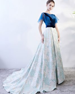 Lace Embroidered Pageant Dress With Train