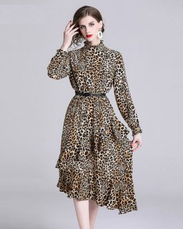 Leopard Print  Ruffles Elegant Evening Party Dress