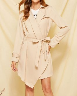 Turndown Collar Long Sleeves Buttons Layered Classic Woolen Coat