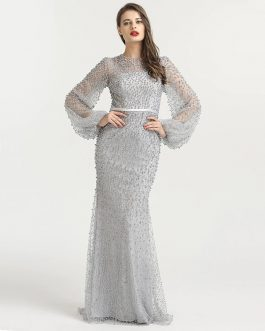 Long Sleeve Arabic Beaded Mermaid Evening Party Prom Gown