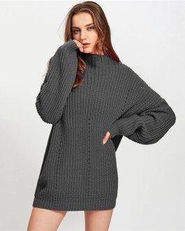 Long Sleeve Cut Out Stand Collar Oversized Ladies Sweaters