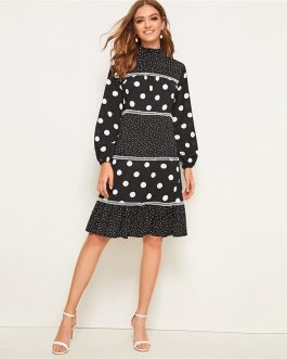 Long Sleeve High Waist Elegant Knee Length Dresses