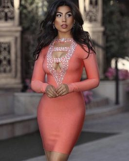 Long Sleeve Hollow Out Diamond Bodycon Party Dress