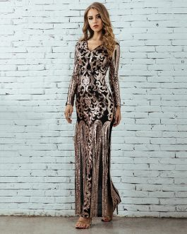 Long Sleeve Sequin Sexy Celebrity Evening Party Maxi Dress