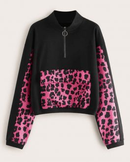 Long Sleeves Leopard Print Pockets Sweatshirt