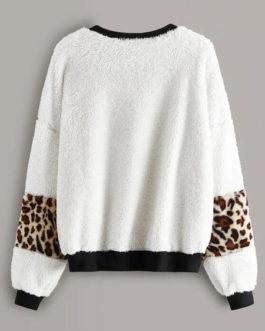 Outerwear Long Sleeves Leopard Print Sweatshirt
