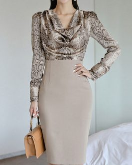 Split Front Snake Print Retro Long Sleeves V Neck Stretch Two Piece Sets Outfit
