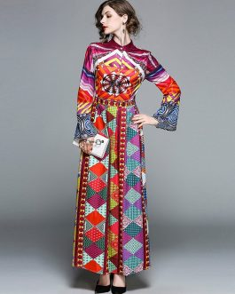 New Vintage Geometric Chiffon Long Maxi Dress