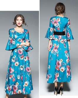 Vintage Floral Print Butterfly Sleeve Long Dress