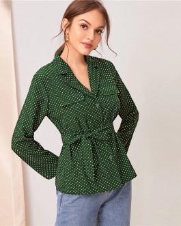 Notched Neck Button Spring Belted Blouse Shirts