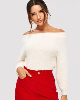 Off The Shoulder Long Sleeve Elegant Fuzzy Sweater