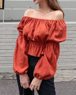 Layered Pleated Off The Shoulder Sexy Long Sleeves Cotton Tops