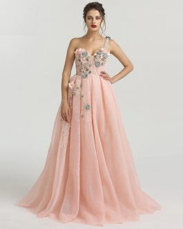 One Shoulder Handmade Flowers Evening Party Dress