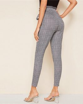 Plaid Paperbag Waist Self Belted Office Ladies Skinny Pants