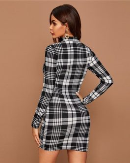 Plaid Stand Collar Elegant Bodycon Mini Dress