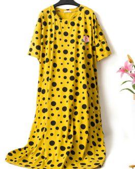 Plus Size Polk Dot Print Nightgown