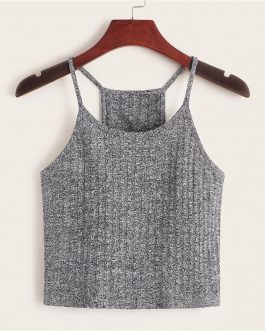 Slim Stretchy Rib-knit Cami Casual Tops