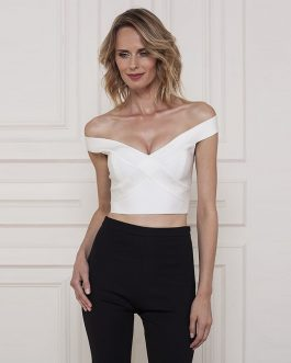 Runway Short Off Shoulder Slash Neck Evening Party Top