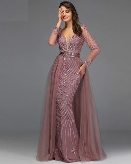 Sequined Sparkle Long Sleeve Beading Evening Gowns