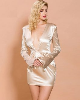 Sexy Deep V Long Sleeve Satin Dresses-