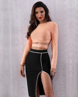 Sexy Hollow Out O-Neck Celebrity Evening Party Short Top
