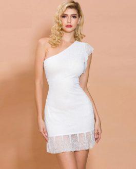 Sexy Irregular Neck Glitter Mini Dress
